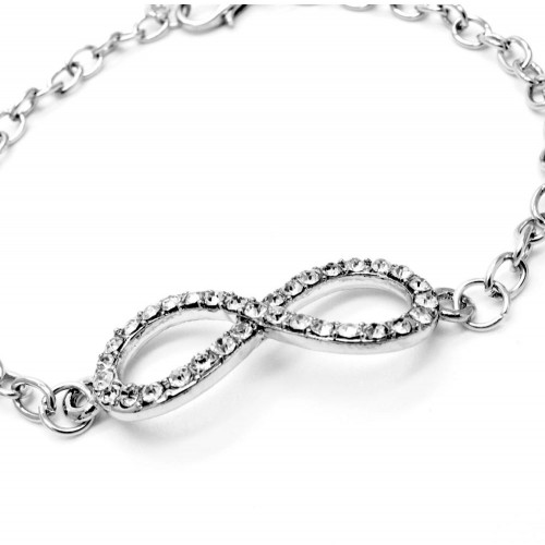 Silber Infinity Armband mit Strass und Kettchen als Modeschmuck