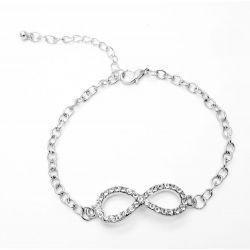 Silber Infinity Armband mit Strass und Kettchen als Modeschmuck Armband