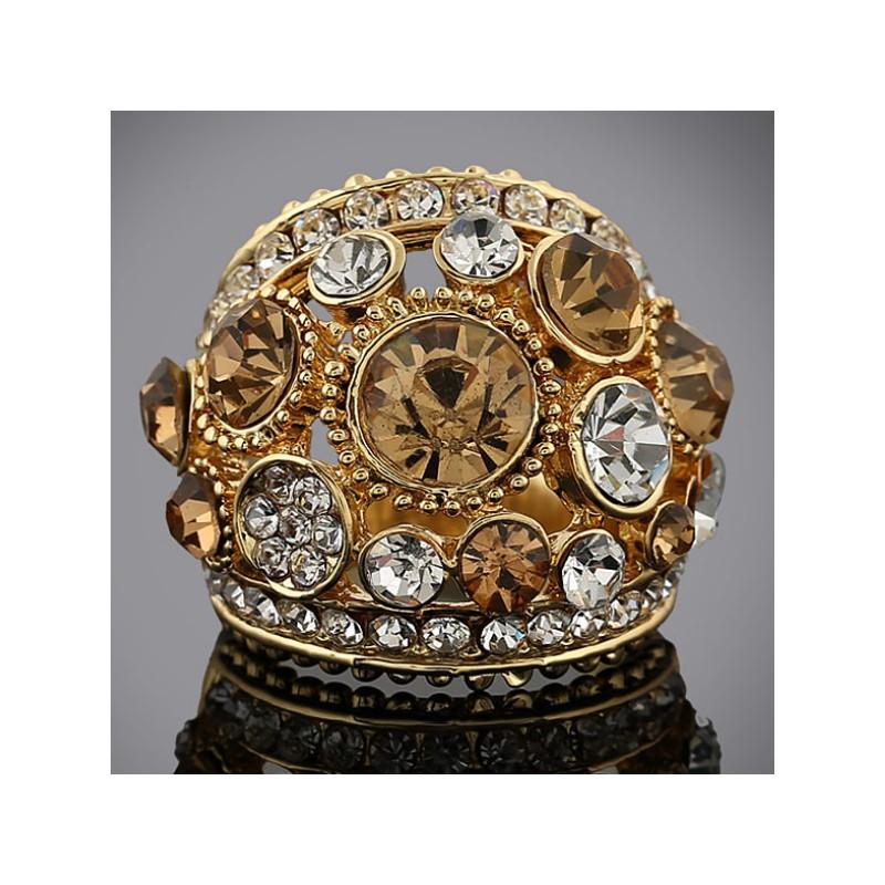 Modeschmuck gold ring  Gold Ring mit topazfarbenen und weißem Strass Modeschmuck Fingerring