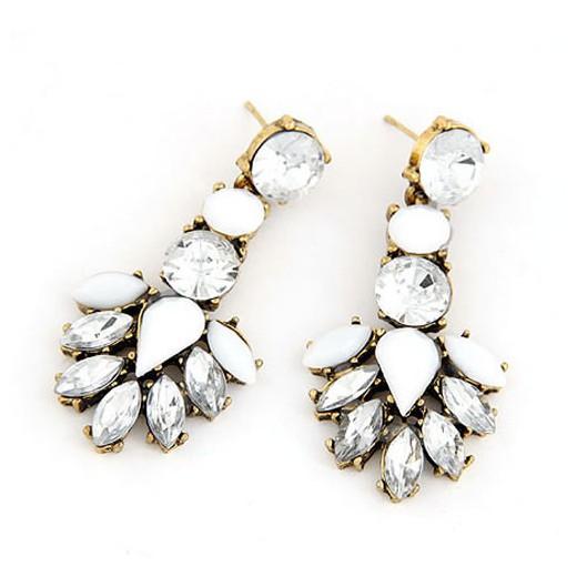 Gold Strass Ohrhänger mit weißen Strasssteinen Modeschmuck Ohrringe