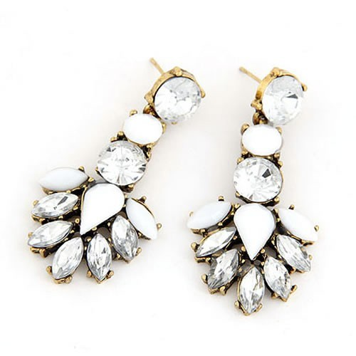 Goldfarben Strass Ohrhänger mit weißen Strasssteinen Modeschmuck Ohrringe