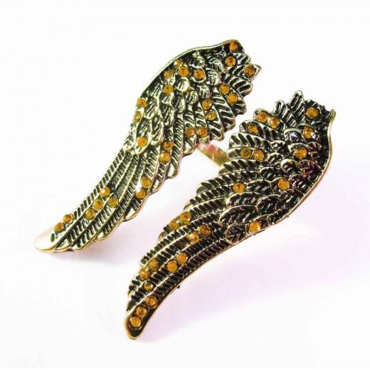 Antikgold Engelsflügel Ring mit orange Strass als Modeschmuck Fingerring