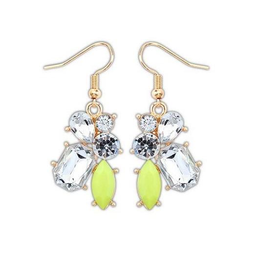Antikgold Strass Ohrhänger mit hellgrünem Stein Modeschmuck Ohrringe