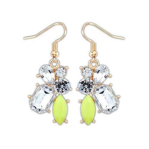 Goldfarben Strass Ohrhänger mit hellgrünem Stein Modeschmuck Ohrringe