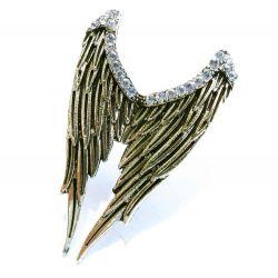 Antikgold Engelsflügel Ring mit transparentem Strass als Modeschmuck Fingerring