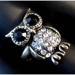 Antikgold Eulen Ring mit transparentem und schwarzem Strass als Modeschmuck Fingerring
