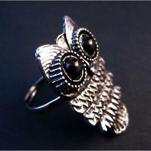 Antiksilber Ring mit Eule mit großen schwarzen Augen als Modeschmuck Fingerring
