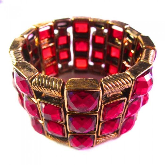 Dunkelrotes Armband als Modeschmuck Armband zum Wickeln