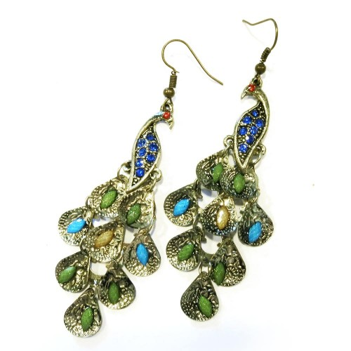 Antikgoldfarbene Pfau Ohrhänger mit blauen Steinen Modeschmuck Ohrringe