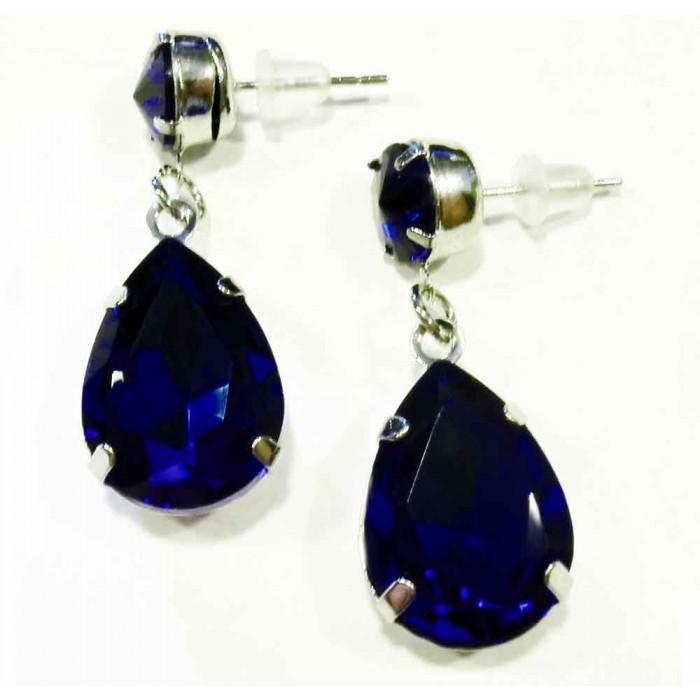 Nachtblaue Ohrhänger mit geschliffenen Glastropfen Modeschmuck Ohrringe