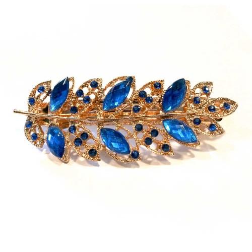 Haarspange mit blauem Strass 94x35mm Modeschmuck Haarschmuck
