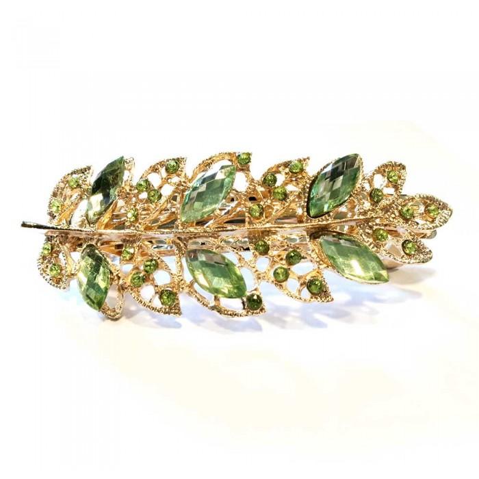 Haarspange mit grünem Strass 94x35mm Modeschmuck Haarschmuck