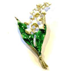Maiglöckchen Brosche in weiß, grün und hellgoldfarben Modeschmuck Anstecknadel