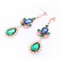 Lange vergoldete Ohrhänger mit farbigen Strasssteinen Modeschmuck Ohrringe