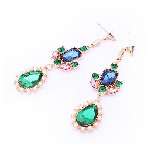 Lange vergoldete Ohrhänger mit verschiedenfarbigen Strasssteinen Modeschmuck Ohrringe