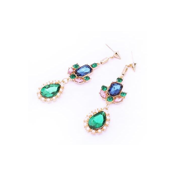 Lange gold Ohrhänger mit verschiedenfarbigen Strasssteinen Modeschmuck Ohrringe