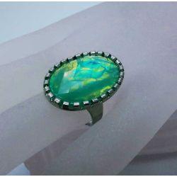 Opalähnlicher türkisfarbener Ring Modeschmuck Fingerring