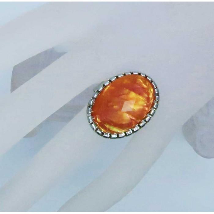 Opalähnlicher orangefarbener Ring Modeschmuck Fingerring