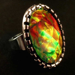 Opalähnlicher vitrailfarbener Ring Modeschmuck Fingerring