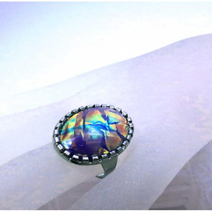 Opalähnlicher violettfarbener Ring Modeschmuck Fingerring