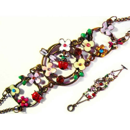 Buntes Armband mit Marienkäfern und Blumen als Modeschmuck