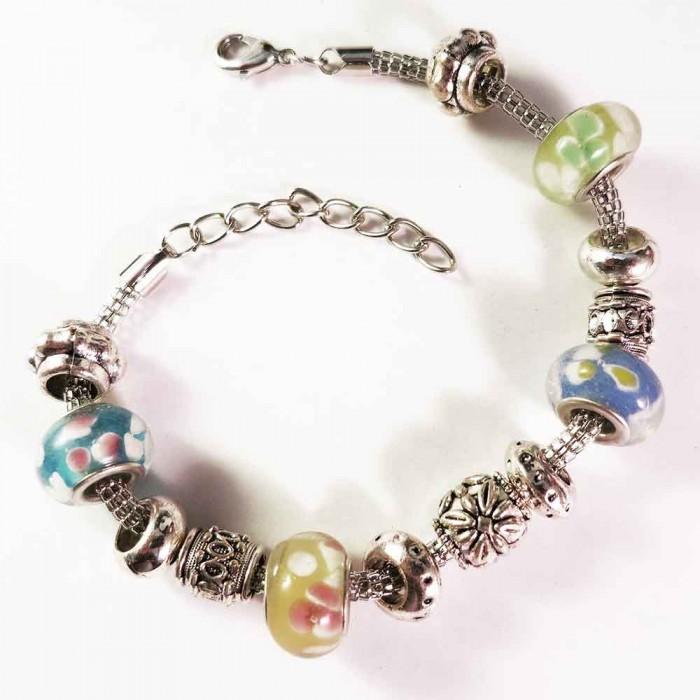 Buntes European Beads Armband mit Glas und Metallperlen Modeschmuck