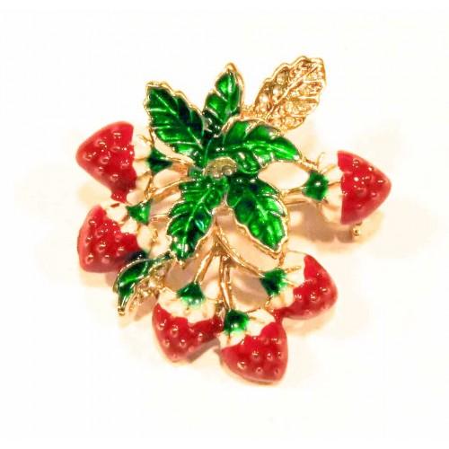 Erdbeer Brosche in rot, grün und hellgoldfarben Modeschmuck Anstecknadel