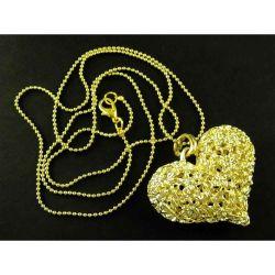 Kette mit großem Herzanhänger goldfarben Modeschmuck
