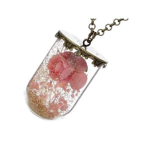 Bronzefarbene Kette mit Rose in Glas Modeschmuck