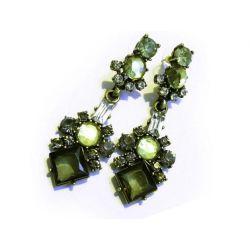Lange Antikgold/hellbronze grüne Strass Ohrhänger Modeschmuck Ohrringe
