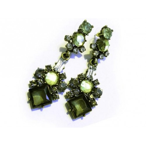 Lange grüne Strass Ohrhänger Modeschmuck Ohrringe