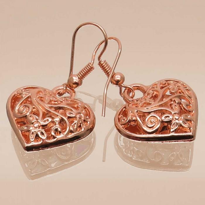 Rosegoldfarbene Ohrhänger mit 3D Herz Modeschmuck Ohrringe