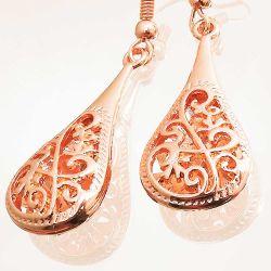 Rosegoldfarbene Ohrhänger mit 3D Tropfen Modeschmuck Ohrringe
