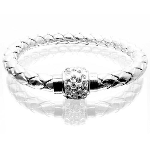 Silberfarbenes PU-Lederarmband aus geflochtener Kordel und Strass Magnetverschluss als Modeschmuck Armband