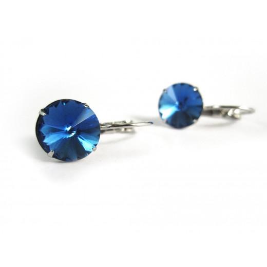 Saphirblaue Strass Brisuren blaue Durchzieher Stein Durchmesser 10mm Modeschmuck Ohrringe
