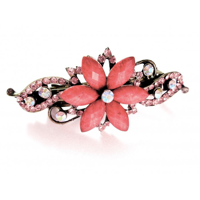Altrose Blumen Strass Haarspange - Modeschmuck Haarschmuck