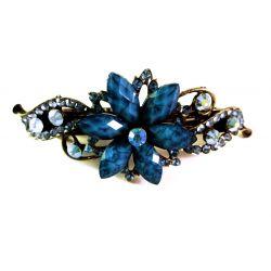 Blaue Blumen Strass Haarspange - Modeschmuck Haarschmuck