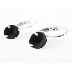 Schwarze Strass Brisuren schwarze Durchzieher Stein Durchmesser 8mm Modeschmuck Ohrringe