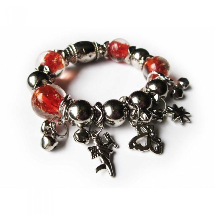 Rotes Armband mit grossen Glasperlen Modeschmuck