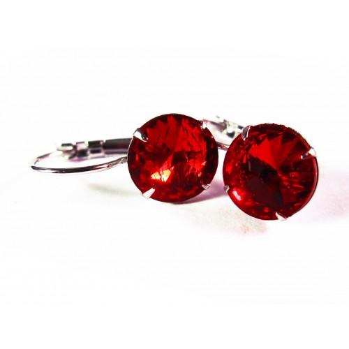 Rote Strass Brisuren siamrote Durchzieher Stein Durchmesser 8mm Modeschmuck Ohrringe