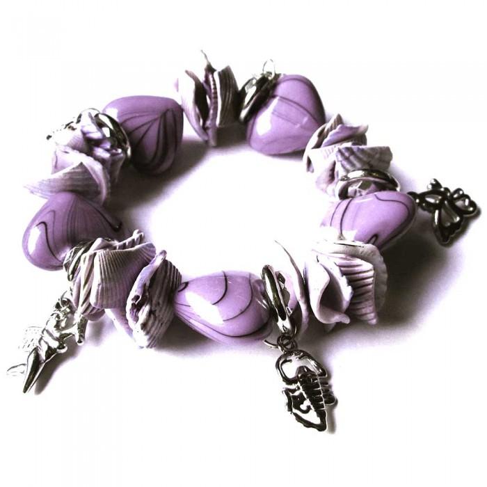 Bettelarmband 'Flieder Herz' in lila violett mit silberfarben Anhängern und Herzperlen Modeschmuck