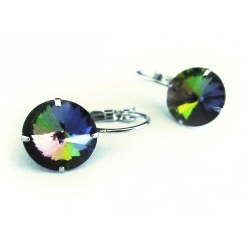 Vitrail grüne Strass Brisuren vitrailfarbene Durchzieher Stein Durchmesser 12mm Modeschmuck Ohrringe