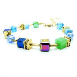 Buntes Würfelperlen Armband 19cm mit Strass Rondellen Modeschmuck
