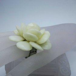 Ring mit großer Rose 5cm in elfenbeinfarben mit Perle als Modeschmuck Fingerring