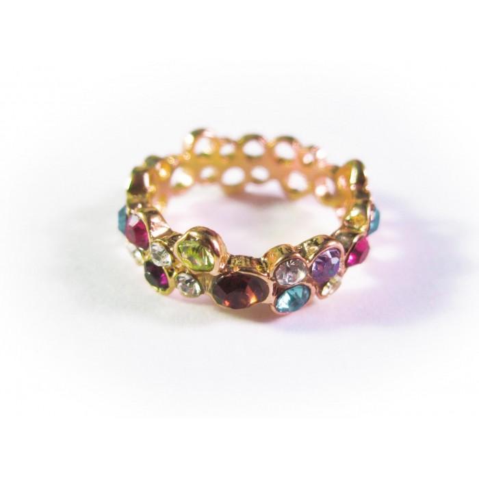 Goldfarbener Ring mit bunten Strasssteinchen Modeschmuck Fingerring