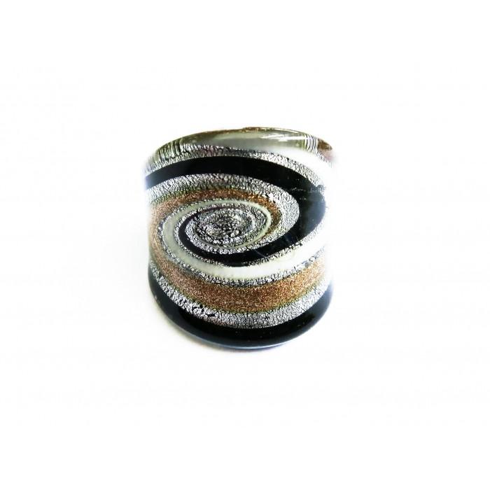 Glas Ring in gold- und silberfarben, weiss und schwarz - Modeschmuck Fingerring