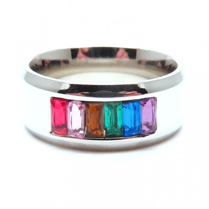 Edelstahl Ring mit bunten Strasssteinen als Modeschmuck Fingerring