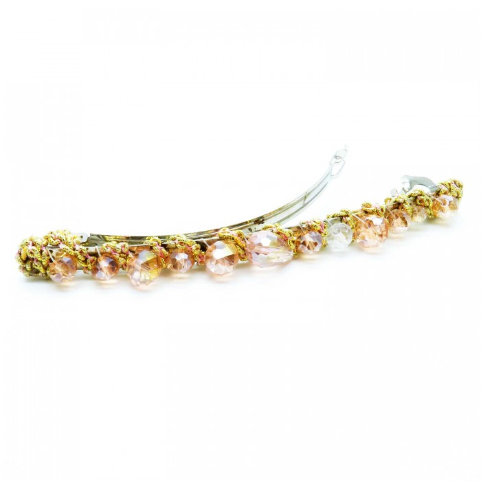 Gold-rosafarbene Haarspange 105x8mm Modeschmuck Haarschmuck