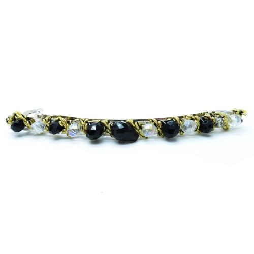 Schwarz- goldfarbene Haarspange 105x8mm Modeschmuck Haarschmuck