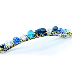 Blau-türkisfarbene Haarspange 105x8mm Modeschmuck Haarschmuck